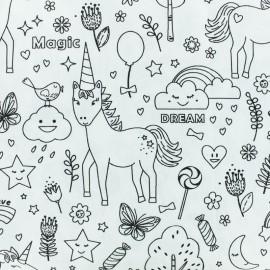 Tissu coton à colorier licorne magique - noir/blanc x 10cm