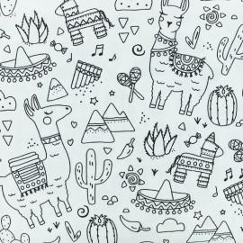 Tissu coton à colorier Pinata Lama - noir/blanc x 10cm