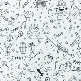Tissu coton à colorier C'est la fête ! - noir/blanc x 10cm