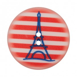 28 mm Polyester Button - Red Eiffel Tower