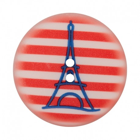 Bouton Polyester Tour Eiffel 28 mm - Rouge