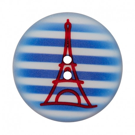 28 mm Polyester Button - Blue Eiffel Tower