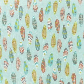 Cretonne cotton fabric - Ice blue Miwok x 10cm