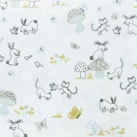 Tissu coton cretonne Boijoli - blanc x 10cm