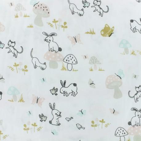 Tissu coton cretonne Boisjoli - blanc/rose x 10cm