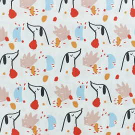 Cretonne cotton fabric - White Doggy x 10cm