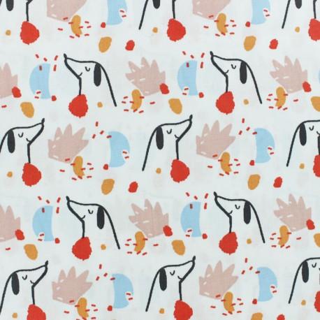 Tissu coton cretonne Doggy - blanc x 10cm