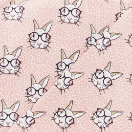 Cretonne cotton fabric - pink Rabbit x 10cm
