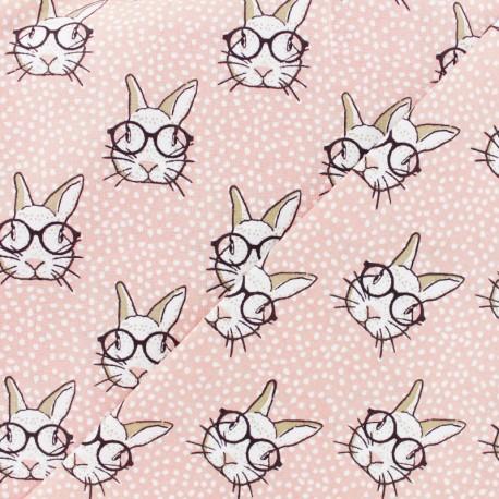 Tissu coton cretonne Rabbit - rose x 10cm