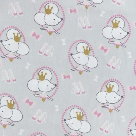 Tissu coton cretonne Cousette - blanc x 10cm