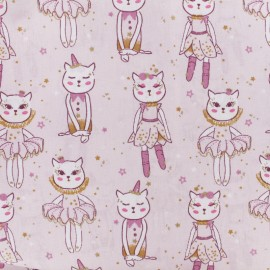 Cretonne cotton fabric - pink Deli-cats x 10cm