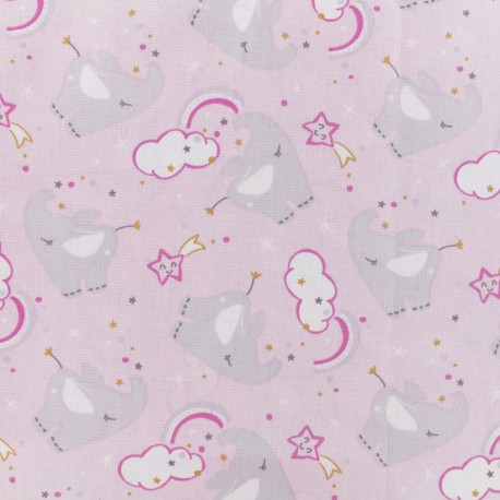 Tissu coton cretonne Yélie - rose clair x 10cm