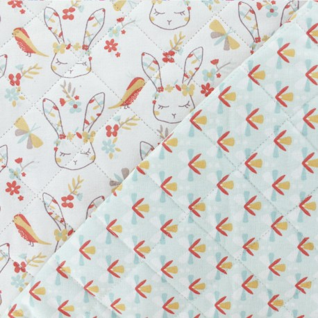Quilted cotton fabric Arvika/Liline - mint green x 10cm