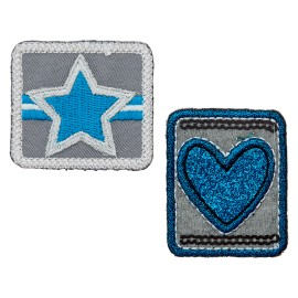 Star of Hearts Iron-On Patch - Blue