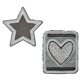 Star of Hearts Iron-On Patch - Silver