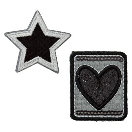 Star of Hearts Iron-On Patch - Black