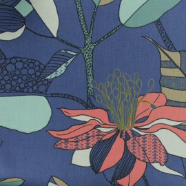 Tissu Toile de coton Khéops - bleu x 50cm
