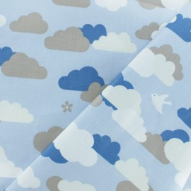 Coated cotton fabric - blue Cloud x 10cm