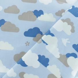 Tissu coton enduit Cloud - bleu x 10cm