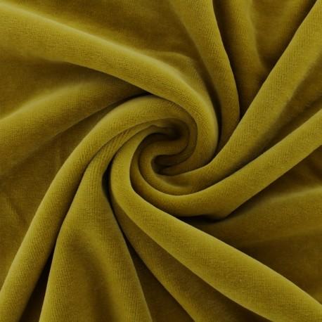 Tissu velours jersey mat Bettina - moutarde x10cm