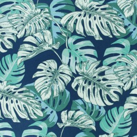 Cretonne cotton fabric - blue Hawaï x 10cm