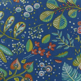 Cretonne cotton fabric - blue Sao Paulo x 10cm