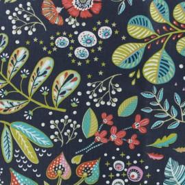 Tissu coton cretonne Ancolie - bleu ardoise x 10cm