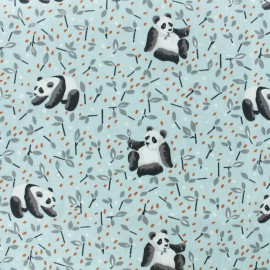 Cretonne cotton fabric - Light blue Panda x 10cm