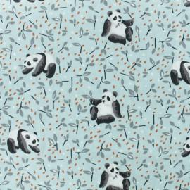 Tissu coton cretonne Panda - bleu ciel x 10cm