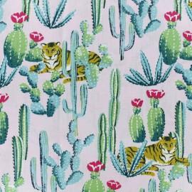 Tissu coton cretonne Bengali - rose clair x 10cm