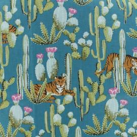 Tissu coton cretonne Bengali - vert paon x 10cm