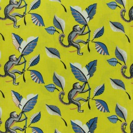 Tissu coton cretonne Ouistiti - bleu x 10cm