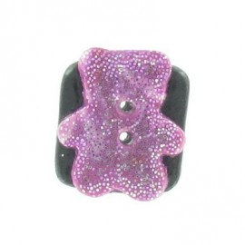 Fimo button, teddy bear - pink/black