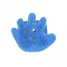 Bouton fimo main bleue