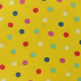 Coated cretonne cotton fabric - yellow Mini Pompon x 10cm