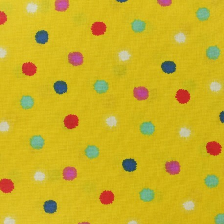 Coated cretonne cotton fabric - curry yellow Kota x 10cm