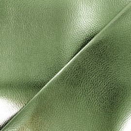 Leather Imitation - Olive Green Metallic x 10cm