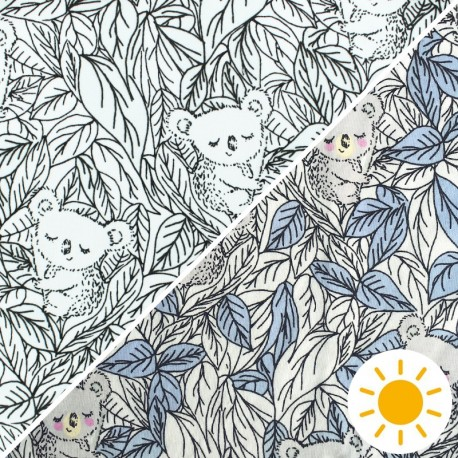 Color Changing jersey fabric - Blue Koala x 10cm