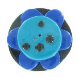 Bouton fimo fleur bleu