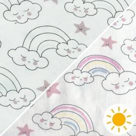 Tissu Jersey Photosensible Arc en ciel - rose x 10cm