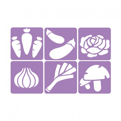 6 Stencils Pack 14 x 14 cm - Vegetable Garden