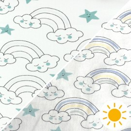 Tissu Jersey Photosensible Arc en ciel - vert x 10cm