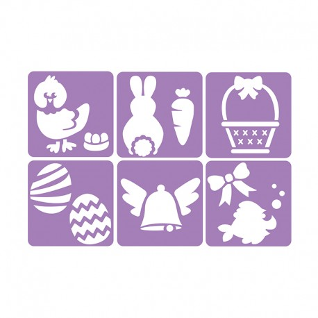6 Stencils Pack 14 x 14 cm - Easter