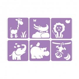 Pack de 6 Pochoirs 14 x 14 cm - Animaux de la Savane