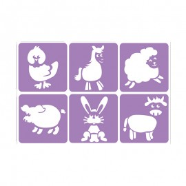 6 Stencils Pack 14 x 14 cm - Farm Animals