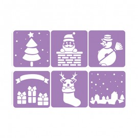 Pack de 6 Pochoirs 14 x 14 cm - Noël