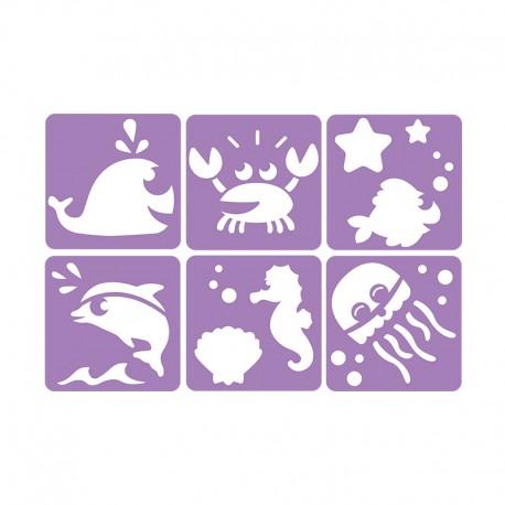 6 Stencils Pack 14 x 14 cm - Sea Animals