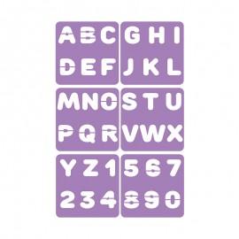 Pack de 6 Pochoirs 14 x 14 cm - Chiffres & Lettres