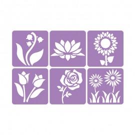 Pack de 6 Pochoirs 14 x 14 cm - Mon Jardin Botanique