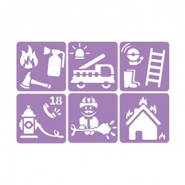 6 Stencils Pack 14 x 14 cm - Firefighter
